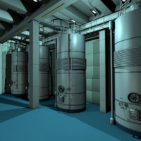 Three boilers in a room with fluorescent lighting and blue floor